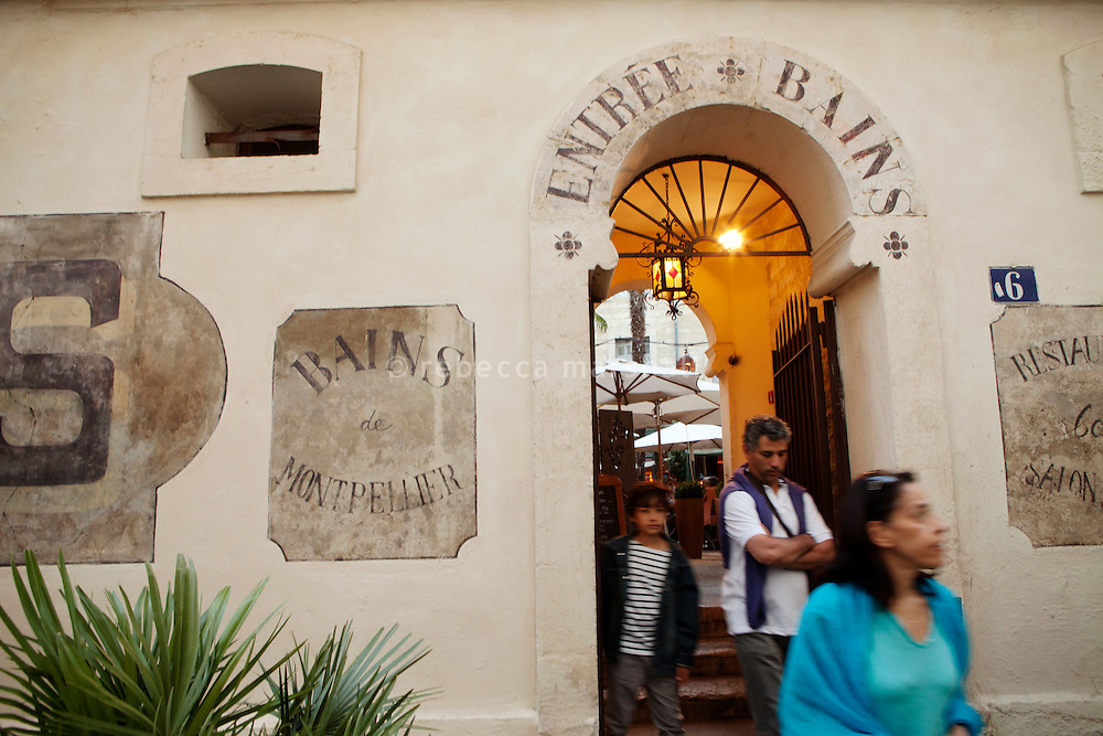 The entrance to restaurant 'Les Bains', Montpellier, France, 13 July 2012. The restaurant is housed in renovated 18th century stone buildings that were formerly public baths.