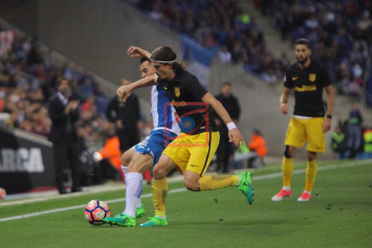 League Santander 2016/2017. Game: 33.<br /> RCD Espanyol vs Atletico de Madrid: 0-1.<br /> Jurado vs Filipe Luis.