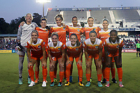 "Cary, North Carolina  - Saturday September 09, 2017: Houston Dash starters. Front row (from left): Rachel Daly, Camille Levin, Andressa Cavalari Machry ""Andressinha"", Amber Brooks, Nichelle Prince; Back row (from left): Jane Campbell, Cari Roccaro, Sarah Hagen, Poliana Barbosa Medeiros, Kristie Mewis, and Janine Van Wyk prior to a regular season National Women's Soccer League (NWSL) match between the North Carolina Courage and the Houston Dash at Sahlen's Stadium at WakeMed Soccer Park. The Courage won the game 1-0."