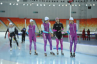 SPEEDSKATING: SOCHI: Adler Arena, 19-03-2013, Training, Mark Tuitert (NED), Hein Ottespeer (NED), Gerard van Veld (trainer/coach Team Beslist.nl), Michel Mulder (NED), © Martin de Jong