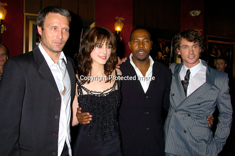 "Mads Mikkelson, Keira Knightley, Director Antoine Fuqua  and Hugh Dancy..at the World Premiere of ""King Arthur"" on June 28, 2004 at ..the Ziegfeld Theatre. ..Photo by Robin Platzer, Twin Images"