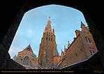 Sunrise Vignette, Onze-Lieve-Vrouwkerk Church of Our Lady, Bonifacius Bridge Archway, Bruges, Brugge, Belgium