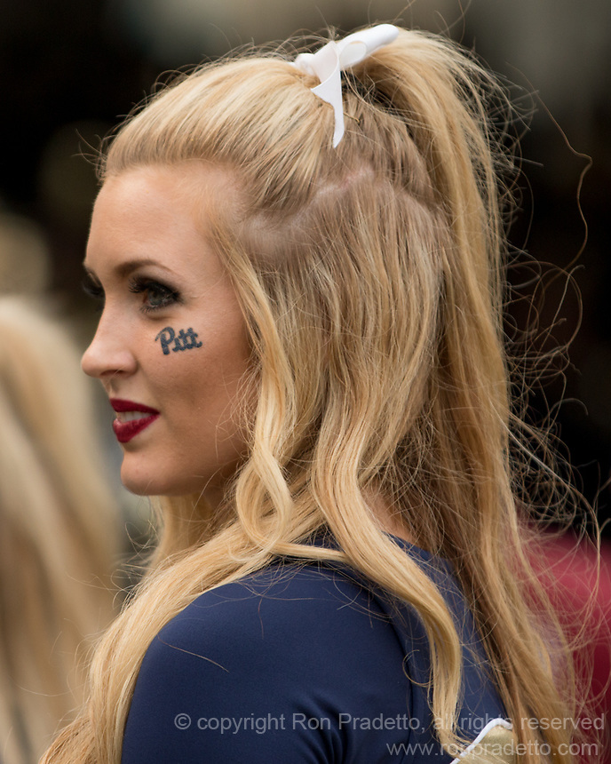 Pitt cheerleader. The Pitt Panthers defeated the Georgia Tech Yellow Jackets 37-34 at Heinz Field in Pittsburgh, Pennsylvania on October 08, 2016.