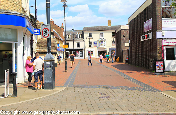 Pedestrianised shopping street in town centre of Ely, Cambridgeshire, England, UK