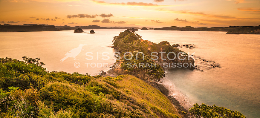 Sunset at Rawhiti Point in the Bay of Islands, North Island, New Zealand - stock photo, canvas, fine art print