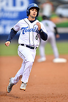 Asheville Tourists shortstop Terrin Vavra (6) runs to third base during a game against the Augusta GreenJackets at McCormick Field on April 5, 2019 in Asheville, North Carolina. The  Tourists defeated the GreenJackets 5-0. (Tony Farlow/Four Seam Images)