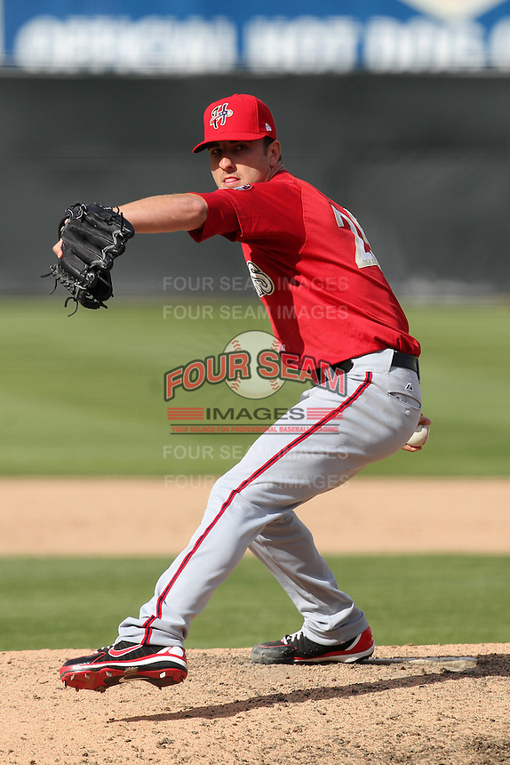 Harrisburg Senators pitcher Pat Lehman #25 delivers a pitch during a game against the Bowie BaySox at Prince George's Stadium on April 8, 2012 in Bowie, Maryland.  Harrisburg defeated Bowie 5-2.  (Mike Janes/Four Seam Images)