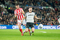 31st January 2020; Pride Park, Derby, East Midlands; English Championship Football, Derby County versus Stoke City; Danny Batth of Stoke City fouls Chris Martin of Derby County from behind
