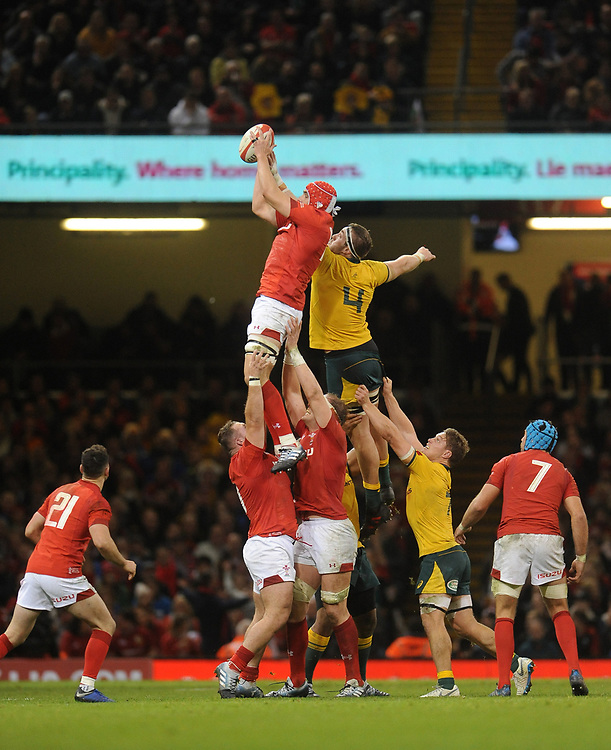 Wales' Cory Hill calms the line out <br /> <br /> Photographer Ian Cook/CameraSport<br /> <br /> Under Armour Series Autumn Internationals - Wales v Australia - Saturday 10th November 2018 - Principality Stadium - Cardiff<br /> <br /> World Copyright © 2018 CameraSport. All rights reserved. 43 Linden Ave. Countesthorpe. Leicester. England. LE8 5PG - Tel: +44 (0) 116 277 4147 - admin@camerasport.com - www.camerasport.com