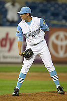 Wilmington Blue Rocks relief pitcher Justin Marks #14 delivers a pitch during a game against the Lynchburg Hillcats at Frawley Stadium on May 3, 2011 in Wilmington, Delaware.  Lynchburg defeated Wilmington by the score of 11-1.  Photo By Mike Janes/Four Seam Images