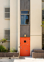 Orange door, Norris Hall, photographed June 8, 2018.<br /> (Photo by Marc Campos, Occidental College Photographer)