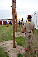 Scout from Thailand preparing for the flagfall at the evening. Photo: Christoffer Munkestam/Scouterna