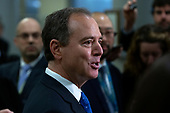 United States Representative Adam Schiff (Democrat of California) speaks to members of the media during a dinner break in the impeachment trial of United States President Donald J. Trump at the United States Capitol in Washington D.C., U.S., on Monday, January 27, 2020.<br />  <br /> Credit: Stefani Reynolds / CNP