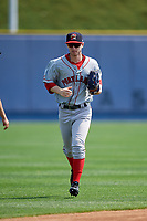 Portland Sea Dogs center fielder Danny Mars (2) jogs off the field during the first game of a doubleheader against the Reading Fightin Phils on May 15, 2018 at FirstEnergy Stadium in Reading, Pennsylvania.  Portland defeated Reading 8-4.  (Mike Janes/Four Seam Images)