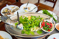 Thailand, Koh Samui Island. Fish at Sabeinglae Restaurant.