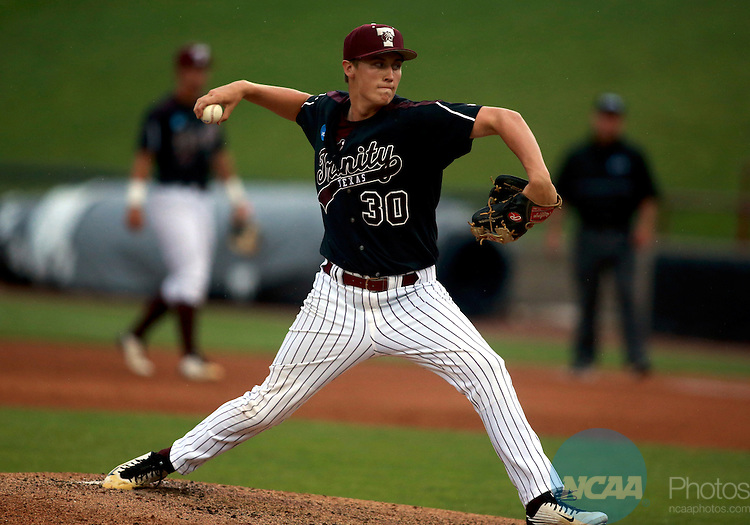 31 MAY 2016: Ian Hussian (30) of Trinity University delivers a pitch in the first inning against Keystone College during the 2016 DIII Baseball Championship held at Fox Cites Stadium in Grand Chute, Wisconsin. Trinity University defeated Keystone College 10-7 for the National Title. Allen Fredrickson/NCAA Photos