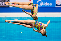 BAZHINA Nadezhda, ILINYKH Kristina RUS<br /> Diving <br /> Women's 3m Synchro Springboard Preliminary<br /> Day 04 17/07/2017 <br /> XVII FINA World Championships Aquatics<br /> Duna Arena Budapest Hungary July 15th - 30th 2017 <br /> Photo @A.Masini/Deepbluemedia/Insidefoto