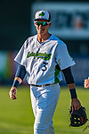 24 August 2019: Vermont Lake Monsters infielder Logan Davidson walks to the dugout up prior to facing the Lowell Spinners at Centennial Field in Burlington, Vermont. The Lake Monsters fell to the Spinners 3-2 in NY Penn League action. Mandatory Credit: Ed Wolfstein Photo *** RAW (NEF) Image File Available ***