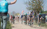 Peter Sagan (SVK/Bora Hansgrohe) leads the peloton on pav&eacute; sector 27: Qui&eacute;vy to Saint-Python<br /> <br /> 115th Paris-Roubaix 2017 (1.UWT)<br /> One day race: Compi&egrave;gne &gt; Roubaix (257km)