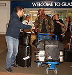 Pedro Caixinha wishes good luck to Dalcio as they arrive in Glasgow this morning