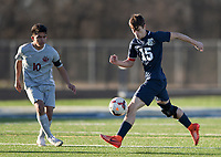 NWA Democrat-Gazette/CHARLIE KAIJO Bentonville West High School defender Devin Pearson (15) dribbles during a soccer game, Friday, March 15, 2019 at Bentonville West in Centerton.
