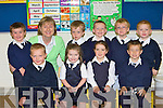 Mrs Angela Prendergast the new principal in Fybough NS, Castlemaine welcomes the new junior infants to school on Wednesday front row l-r: Tadgh Evans, Sarah Cremins, Cianna Foley, Luke Benson. Back row: Brendan Gallagher, Liam Evans, Shane Evans, Fiona?n Griffin and DJ O'Mahony
