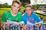 Tommy Griffin and Aidan Murphy check their Leaving Certificate results last Wednesday morning in Tarbert Comprehensive School.
