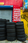 Flatbush, Brooklyn - December 10, 2016: A tire shop on Avenue D, normally bustling on a weekday, is closed and quiet on a Sunday, like most of this largely immigrant community.  Photo Credit:  Diane Bezucha