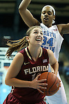 31 January 2013: Florida State's Leonor Rodriguez (ESP) (10) and North Carolina's Xylina McDaniel (34). The University of North Carolina Tar Heels played the Florida State University Seminoles at Carmichael Arena in Chapel Hill, North Carolina in an NCAA Division I Women's Basketball game. UNC won the game 72-62.