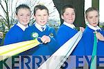 School's out: Swapping their classroom on Tuesday for the St Patrick's Day parade in Listowel were Kilocrim pupils Kevin Brouder, Joseph Gleeson, Fabien McCarthy and Eddie Horgan.