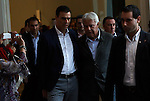 "Madrid,Spain - 16 10 2014- ""politics""-Former Spanish socialist leader and former Spanish President Felipe Gonzalez and the new Socialist leader Pedro Sanchez upon his arrival at the act for the 40th anniversary of the Suresnes congress (Foto: Guillermo Martinez /Bouza Press)"