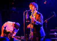 Guitarist and Lead Vocalist Jesse Laz and Guitarist Kai Kennedy of Brooklyn Garage Pop rockers Locksley perform at the Fillmore Theatre , Irving Plaza NYC ( June 15, 2008)