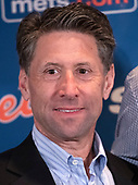New York Mets COO Jeff Wilpon appears with Mets starting pitcher Jacob deGrom (48) at a press conference on his new five-year contract extension at the Ritz-Carlton Hotel in Arlington, Virginia on Wednesday, March 27, 2019. According to reports, the contract duration is five years, with a sixth-year team option and, if completed, will be with $170 million. It includes a full no-trade clause and an opt-out after the 2022 season.<br /> Credit: Ron Sachs / CNP<br /> (RESTRICTION: NO New York or New Jersey Newspapers or newspapers within a 75 mile radius of New York City)