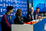 (L-R) Spain's Marco Asensio, Royal Spanish Football Federation's vice president Ana Munoz Merino,  Pelayos Seguros's president Jose Boada and Spain's Saul Niguez during the press conference at the The Football City of the Royal Spanish Football Federation in Madrid 19th March 2019. (ALTERPHOTOS/Alconada)