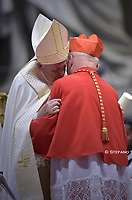 Pope Francis  Cardinal Lithuanian prelate Sigitas Tamkevicius (L) during an Ordinary Public Consistory for the creation of new cardinals, for the imposition of the biretta, the consignment of the ring and the assignment of the Title or Diaconate, on October 5, 2019 at St. Peter's Basilica in the Vatican. Pope Francis appoints 13 new cardinals at the 2019 Ordinary Public Consistory, choosing prelates whose lifelong careers reflect their commitment to serve the marginalized and local church communities, hailing from 11 different nations and representing multiple religious orders.