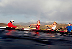 Rowing, US National Rowing Team, women's eight, workout, Otay Lake, ARCO Olympic Training Center, Chula Vista, California, cox, Raj Shaw,.