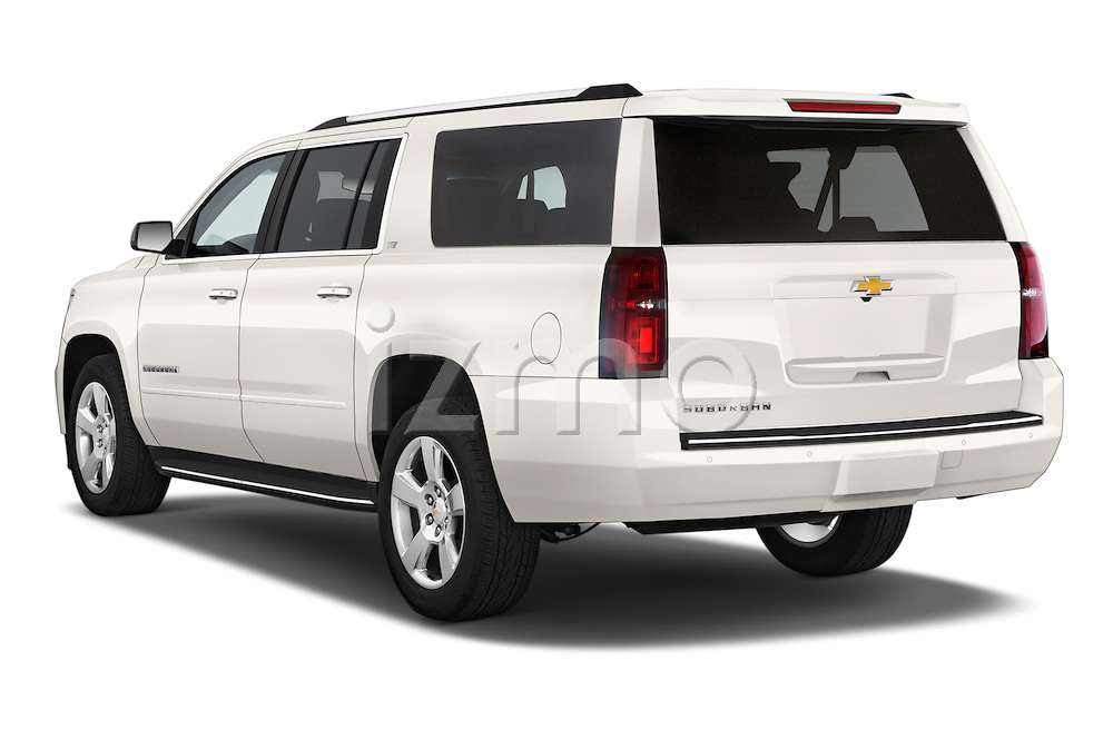 Car pictures of rear three quarter view of a 2015 Chevrolet Suburban 4WD 1500 LTZ 5 Door Suv Angular Rear