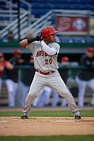 Auburn Doubledays Wilmer Perez (20) bats during a NY-Penn League game against the Batavia Muckdogs on June 15, 2019 at Dwyer Stadium in Batavia, New York.  Batavia defeated Auburn 7-5.  (Mike Janes/Four Seam Images)