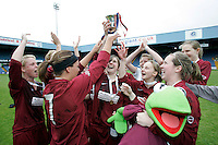 09 MAY 2007 - LONDON, UK - Loughborough University players celebrate their victory over Brighton University - BUSA Womens Football Championships. (PHOTO (C) NIGEL FARROW)