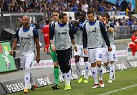Terrence Boyd (SV Darmstadt 98), Kevin Großkreutz (SV Darmstadt 98), Yannick Stark (SV Darmstadt 98), Artur Sobiech (SV Darmstadt 98) laufen sich warm - 28.04.2018: SV Darmstadt 98 vs. 1. FC Union Berlin, Stadion am Boellenfalltor, 32. Spieltag 2. Bundesliga