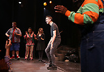 Nick kohn, Grace Choi, Dana Steingold, Ben Durocher during the 'Avenue Q' 15th Anniversary Performance Curtain Call at New World Stages on July 31, 2018 in New York City.