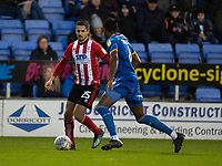 Lincoln City's Zack Elbouzedi vies for possession with Shrewsbury Town's Omar Beckles<br /> <br /> Photographer Andrew Vaughan/CameraSport<br /> <br /> The EFL Sky Bet League One - Shrewsbury Town v Lincoln City - Saturday 11th January 2020 - New Meadow - Shrewsbury<br /> <br /> World Copyright © 2020 CameraSport. All rights reserved. 43 Linden Ave. Countesthorpe. Leicester. England. LE8 5PG - Tel: +44 (0) 116 277 4147 - admin@camerasport.com - www.camerasport.com
