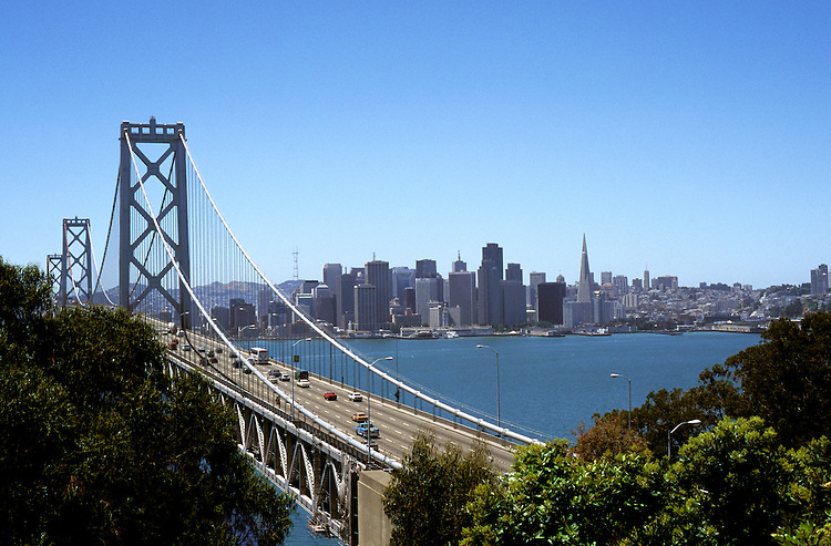 California: San Francisco.  Bay  Bridge.  Photo #: caggbr105..Photo copyright Lee Foster, 510/549-2202, lee@fostertravel.com, www.fostertravel.com