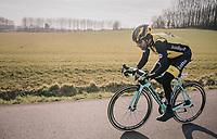 Tom Leezer (NED/LottoNL-Jumbo) wearing a Lazer helmet...<br /> <br /> Omloop Het Nieuwsblad 2018<br /> Gent &rsaquo; Meerbeke: 196km (BELGIUM)