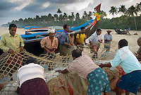 Kerala, India, April 2008. Fishermen prepare their large nets at dawn for a long day of fishing along the Malabar coast. The backwaters of Kerala are reknowned for their rich history and its importance for the spice trade. Photo by Frits Meyst/Adventure4ever.com