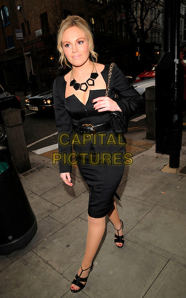 MICHELLE DEWBERRY.The London Restaurant Week launch party, The Hospital bar & club, London, England..March 31st, 2008.full length black dress skirt top belt jacket chanel bag purse necklace .CAP/CAN.©Can Nguyen/Capital Pictures.