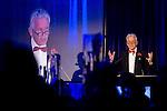 © Joel Goodman - 07973 332324 . 06/11/2014 .  Manchester , UK . TV presenter NICK OWEN introduces the awards . The MEN Business Awards 2014 at the Midland Hotel . Photo credit : Joel Goodman