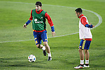 Spain's Mikel San Jose (l) and Thiago Alcantara during training session. March 21,2016. (ALTERPHOTOS/Acero)