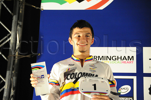 05.27.2012. England, Birmingham, National Indoor Arena. UCI BMX World Championships. Podium trio for the Cruisers Men 17 -24 Finals at the NIA. ..Juan Camilo Marin Dominguez (Colombia) 1st....
