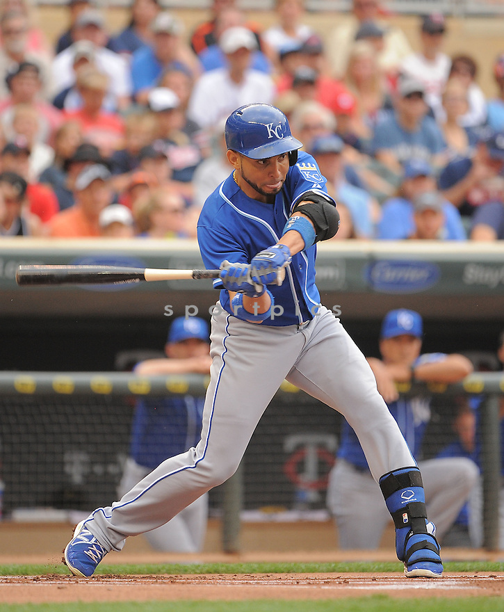 Kansas City Royals Omar Infante (14) during a game against the Minnesota Twins on August 17, 2014 at Target Field in Minneapolis, MN. The Royals beat the Twins 12-6.